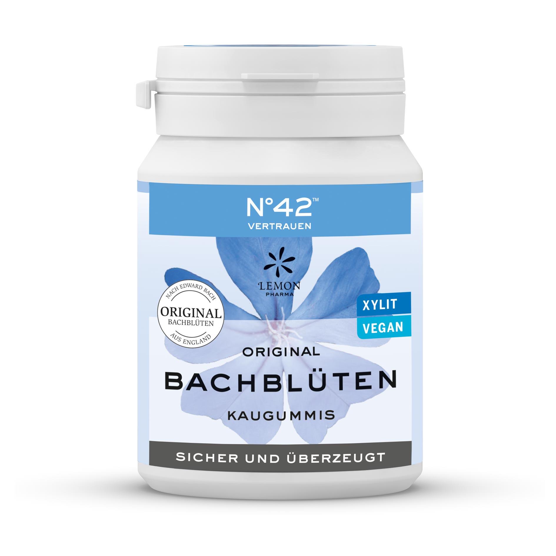 Chewing-gum 42 Confiance Lemon Pharma Original Fleurs de Bach sûr et convaincu xylit végan intuition
