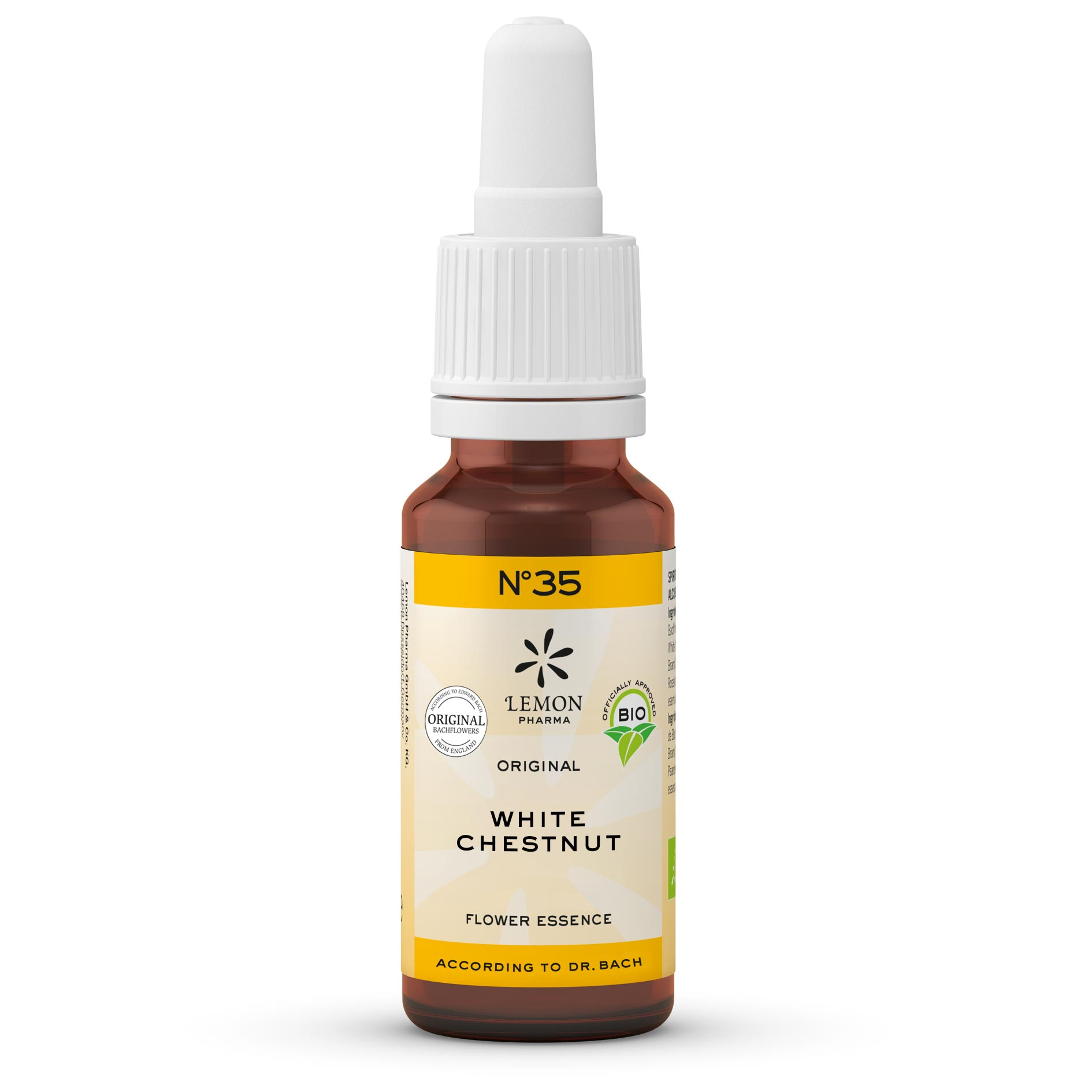 Gotas Flores de Bach Lemon Pharma Original Nº 35 White Chestnut Castaño de Indias Silencio Pensativo