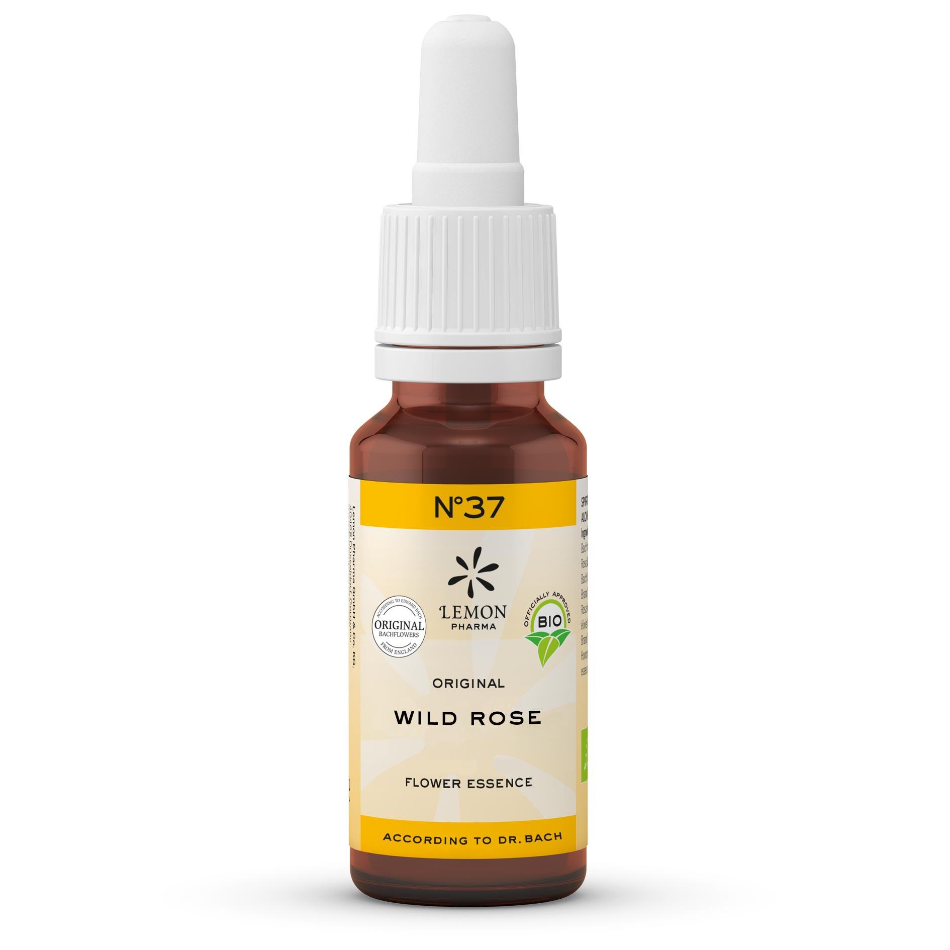 Gotas Flores de Bach Lemon Pharma Original Nº 37 Wild Rose Rosa Silvestre Alegría Vital