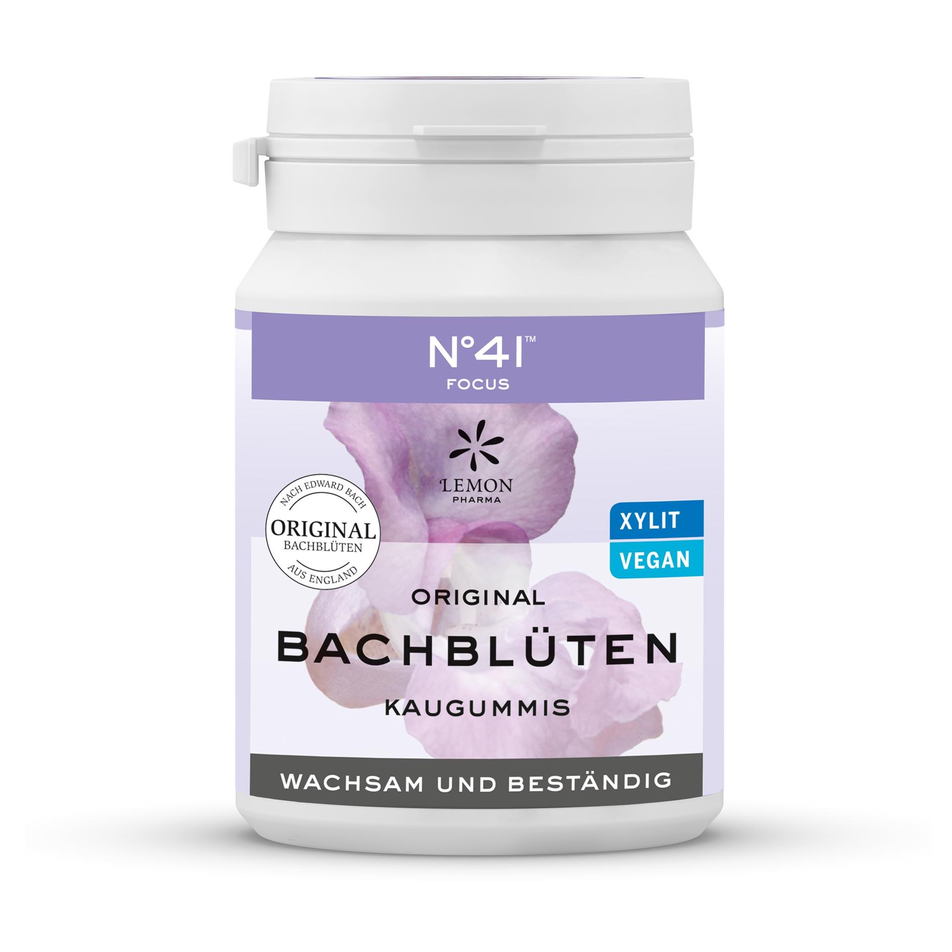 Gomma da masticare 41 Concentrazione Fiori di Bach originali Lemon Pharma Bach flowers Sveglio e resistente Xylit Vegano
