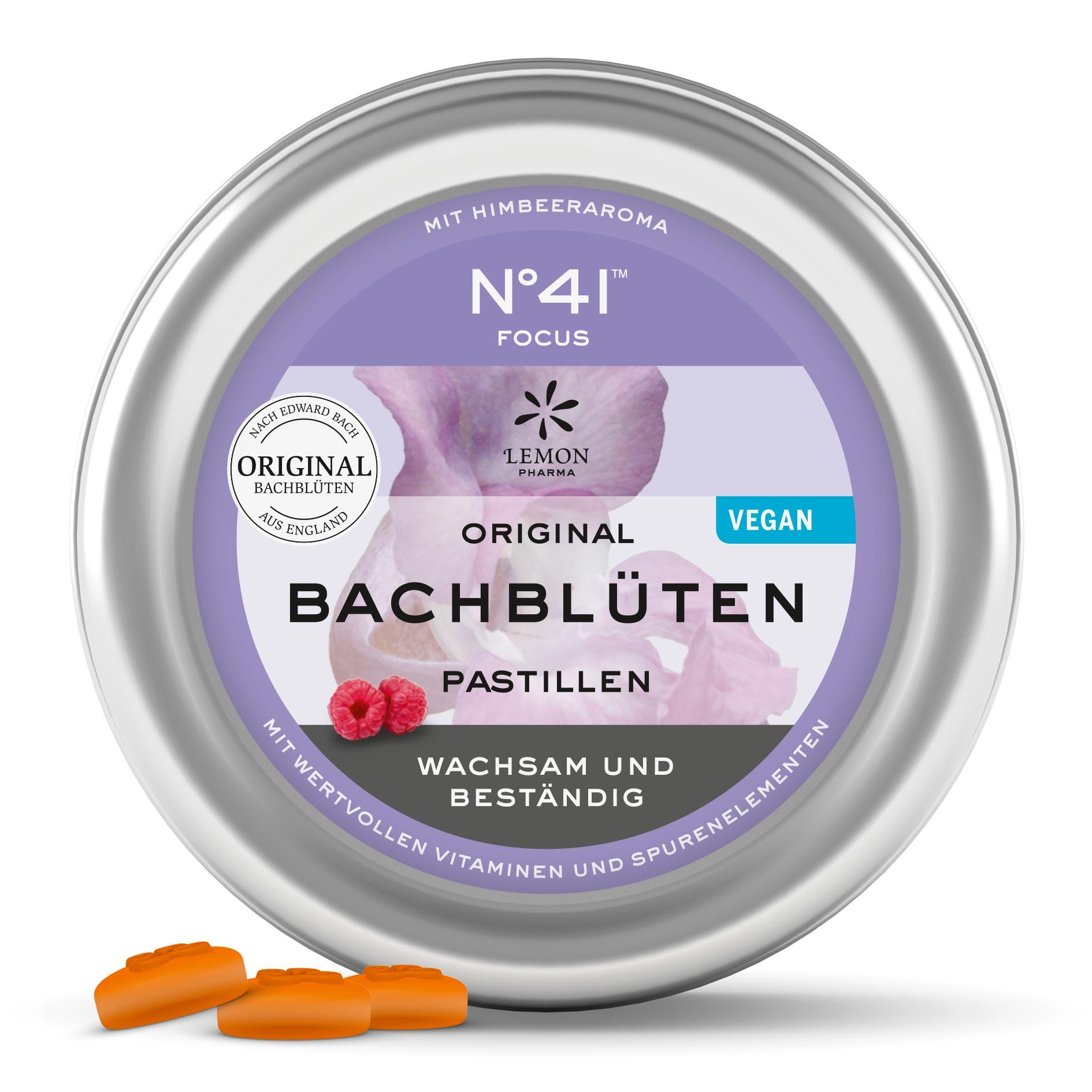 Fiori di Bach originali Lemon Pharma Nr 41 Concentrazione pastiglie Svegli e resistenti vegano